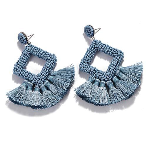 - Dvacaman Hoop Tassel Earrings for Women - Statement Handmade Beaded Fringe Dangle Earrings, Idea Gift for Mom, Sister and Friend (Grey Blue)
