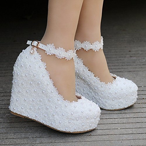 Crystal Round Pumps Platform White White Queen Pearls Toe Wedding Shoes Platform Lace Shoes Wedges Wedges vAvqr1
