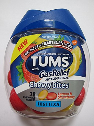 Tums with Gas Relief Chewy Bites, Lemon & Strawberry, 28 Chewable Tablets (Pack of 2)