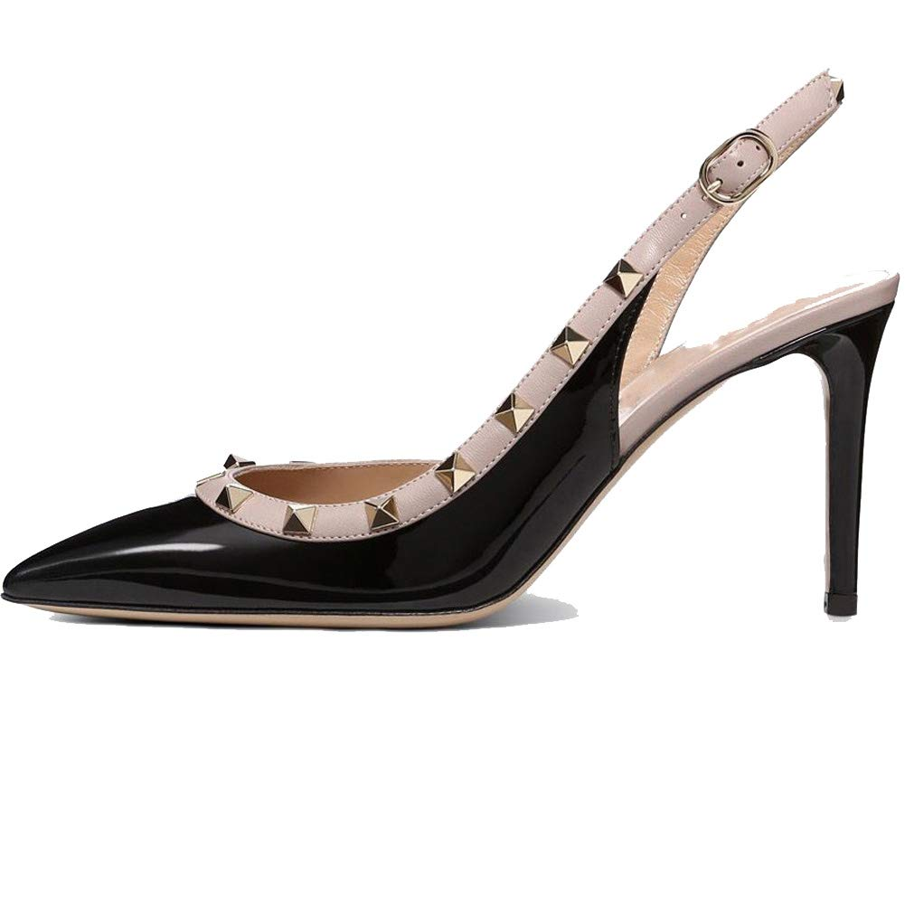 9be7e1889cea0 Ayercony Rivets Studded Sandal, Woman's Pointed Toe Sandals High Heels  Slingback Pumps Rockstudded for Dress Party