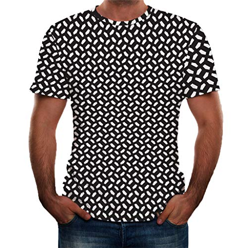 iLXHD Sale Men Short Sleeve Summer Funny Printing Shirt T-Shirt Blouse Tops Short Sleeve Muscle Workout Shirt Black -