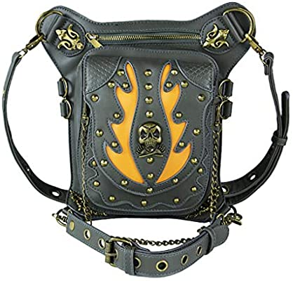 Qhome Skeleton Flame Rivet Retro Women Gothic Leather Steampunk Bag Steam Punk Rock Gothic Goth Shoulder Waist Bags Packs Victorian Style for Women Men Leg Thigh Holster Bag