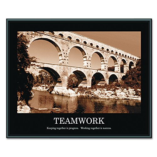 ADVANTUS Framed Motivational Print, Teamwork, Sepia-Tone, 30 x 24 Inches, Black Frame (78162) ()