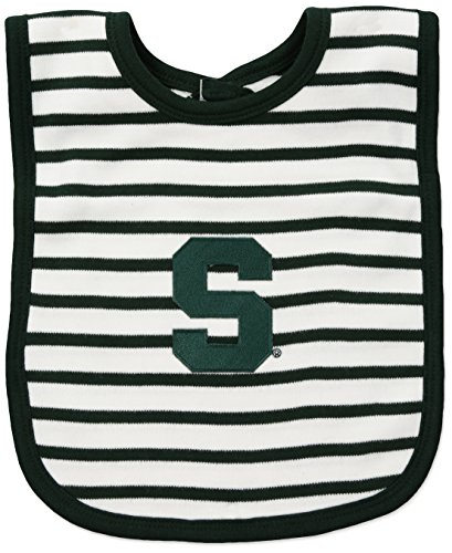 (Two Feet Ahead NCAA Michigan State Spartans Infant Stripe Knit Bib, One Size, Green/White )