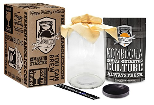 Fermentaholics Kombucha SCOBY (starter culture) + 1-Gallon Glass Fermenting Jar with Breathable Cover + Rubber Band + Adhesive Thermometer - Brew kombucha at Home - Detailed Instructions Included by Fermentaholics (Image #8)
