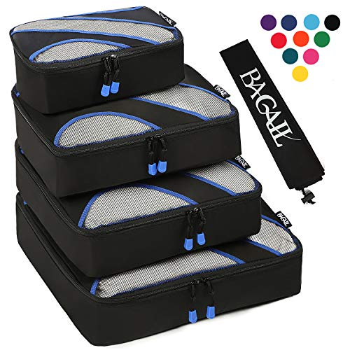 Luggage Organizer - 4 Set Packing Cubes,Travel Luggage Packing Organizers with Laundry Bag Black