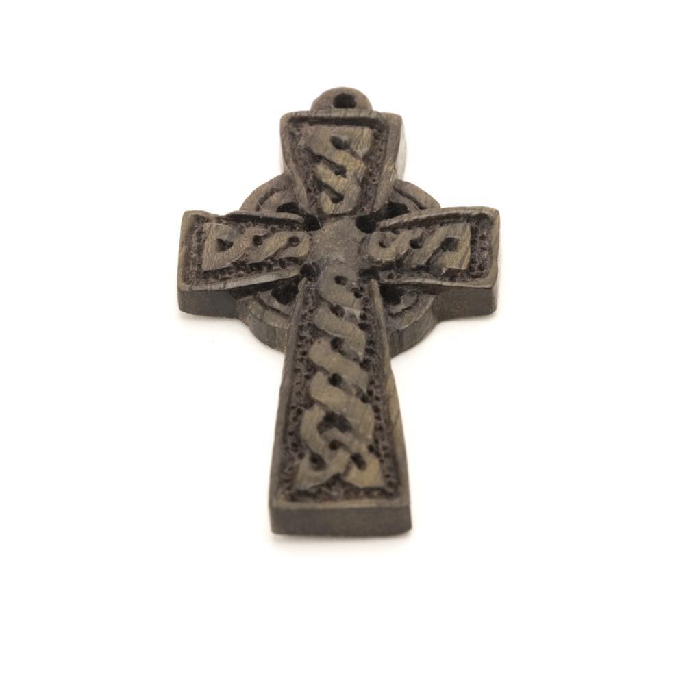 81stgeneration Women's Men's Wood Celtic Irish Cross Religious Charm Pendant Necklace