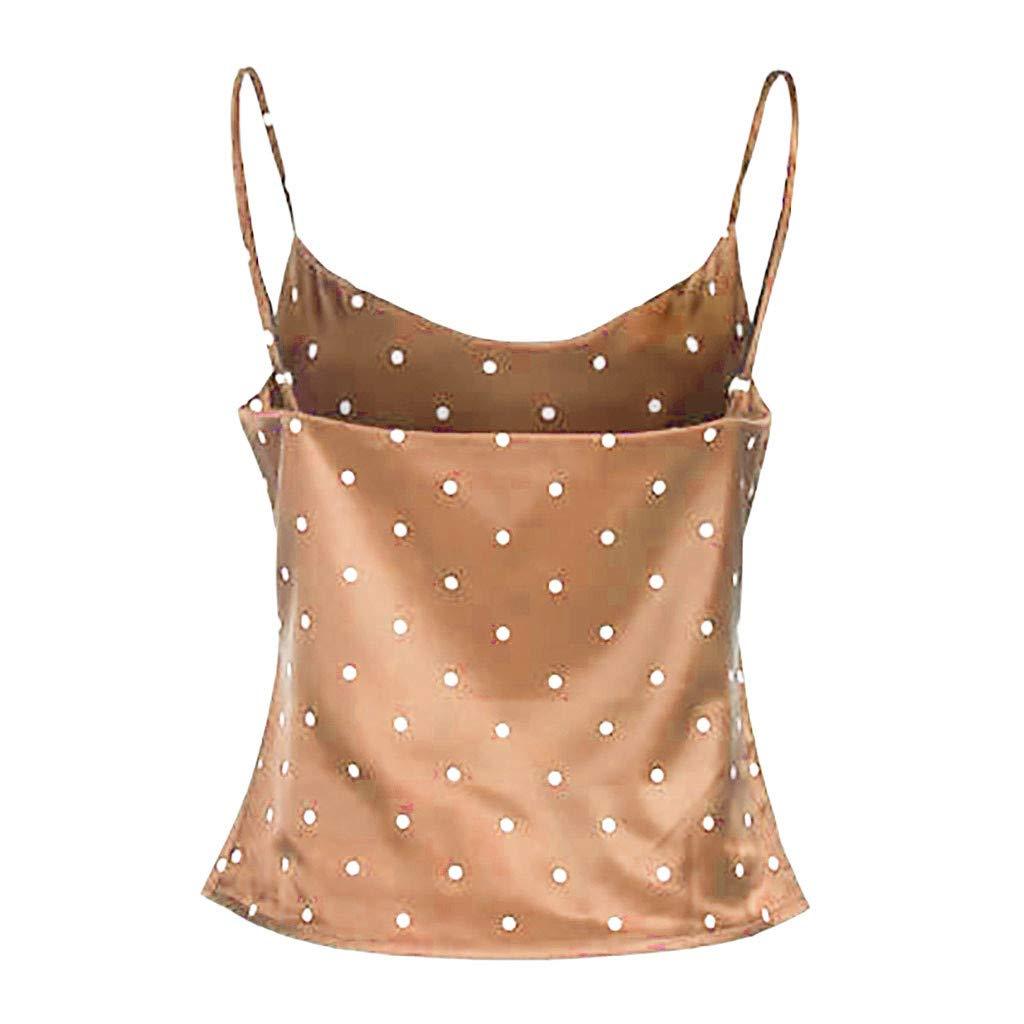 Misaky Womens Polka Dot Satin Silk Tank Tops Sleeveless Summer Cami Camisole Vest