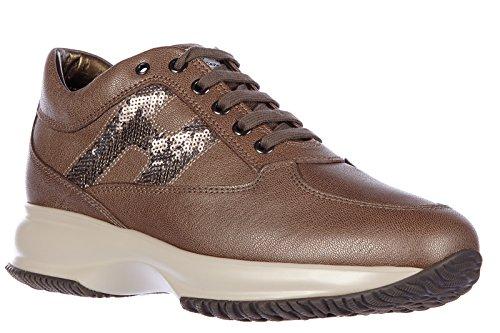 Hogan Damenschuhe Turnschuhe Damen Leder Schuhe Sneakers interactive h paillette