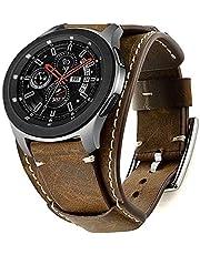 Leotop Kompatibel med Samsung Galaxy Watch 46 mm/Gear S3 Frontier/Galaxy Watch 3 45 mm/klassiskt armband, 22 mm äkta läder klockarmband Cuff ersättningsarmband med för män kvinnor