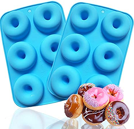 Oven 6 Cavity Non-Stick//Easy to Pop Out Donuts Mold Silicone Donut Baking Pan - Freezer Safe -COKWO 3 pack Microwave Dishwasher