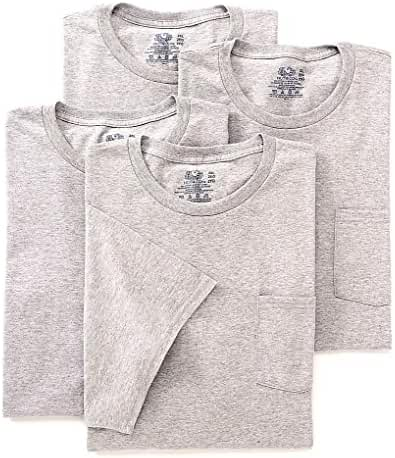 Fruit of the Loom Men's Pocket T-Shirt - Grey, (Pack of 4)