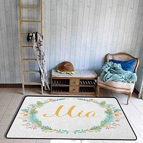 - Indoor/Outdoor Rug,Mia Frame of Flowers and Ferns Pattern with Handwriting Calligraphy Design Cursive Alphabet,Large Area mat,4'7