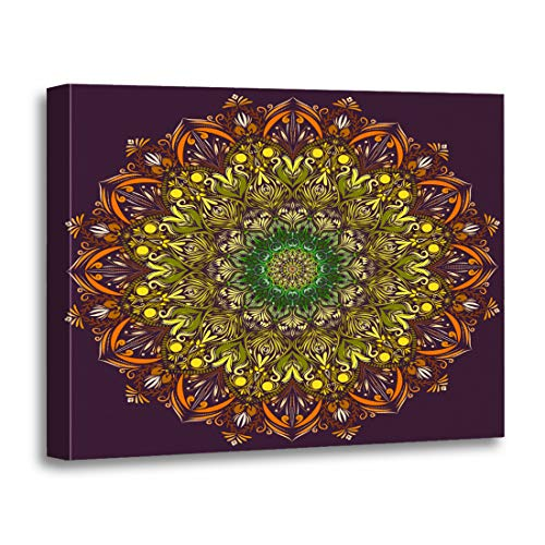 Tinmun Painting Canvas Artwork Wooden Frame Abstraction Mandala Floral Oriental Coloring Book Page Indian Wedding 12x16 inches Decorative Home Wall Art -