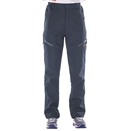 f2882a4802f Nonwe Women s Warm Water-Resistant Workouts Fleece Snow Pants Gray  XS 30.5 quot  ...