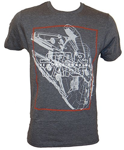 Star Wars Force Awaken Millennium Falcon Logo T-shirt (Large, Heather Charcoal)