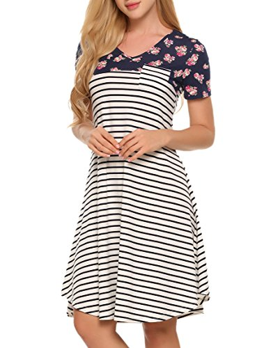 Zeagoo Striped Dress, Women's Summer Short Sleeve Maternity Dress, Floral Print+black Striped, Large
