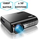 1080P Projector,XINDA 5000 Lux HD Video Projector with 300' Display,±50° 4D Keystone Correction,4K Home Theater Projector,Home& Business Projector for Fire TV Stick,Smartphone,PC,Box,PS4,HDMI,VGA,USB