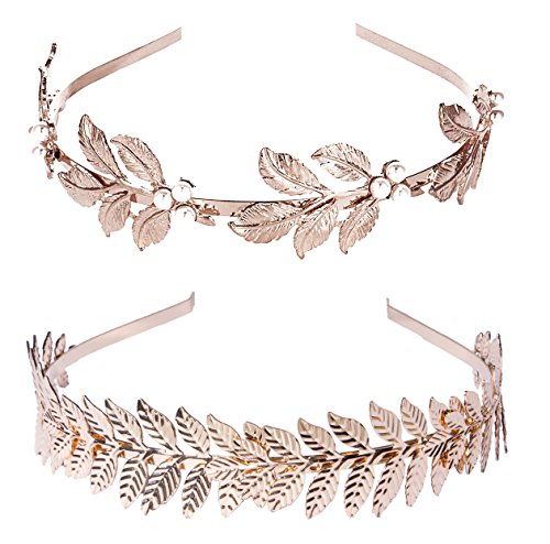 (2 Pack) Roman Goddess Leaf and Star Branch Dainty Bridal Hair Crown HeadBand -