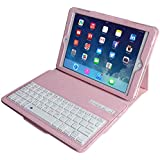 Eoso Keyboard Case for Apple iPad 3/4 Folding Leather Folio Cover with Removable Bluetooth Keyboard for iPad 3/4 Tablet (Pink)