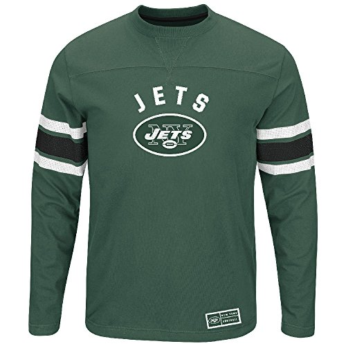 Majestic New York Jets Adult Green Throwback Vintage Power Hit 2 Long Sleeve T Shirt (X-Large) ()