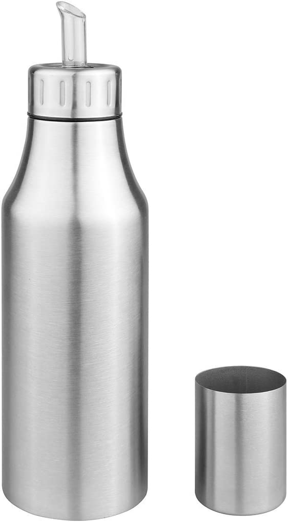 Aceitera de acero inoxidable deluxe resistente al polvo antigoteo aceite botella dispensador de salsa de soja vinagre botella (plata), acero inoxidable, plata, 500 ml