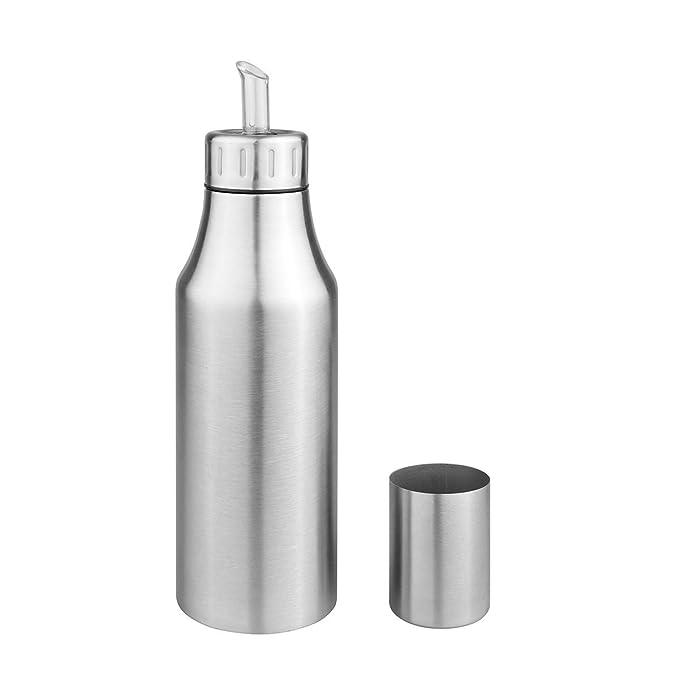 Aceitera de acero inoxidable deluxe resistente al polvo antigoteo aceite botella dispensador de salsa de soja vinagre botella (plata), acero ...