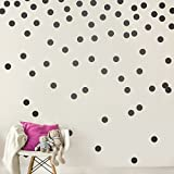7 COLOR WINGS Wall Decal Dots (200 Decals) Easy Peel & Stick Walls Paint Removable Matte Vinyl Polka Dot Decor Round Circle Art Glitter Sayings Sticker Large Paper Sheet Set Nursery Room (Black)