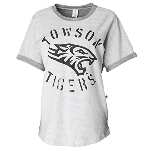 Official NCAA Towson University Tigers TU Doc the Tiger HAIL TOWSON Women's Boyfriend-Fit Stylish Tri- Blend Short Sleeve O-Neck Soft Premium Tee ()