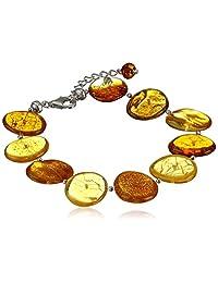 "Sterling Silver and Honey Amber Disc Bracelet, 7.5"" + 1.5'' Extender"