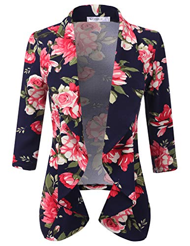 - CLOVERY Women's 3/4 Sleeve Lightweight Open Front Draped Tuxedo Blazer NAVYPINK 3X Plus Size