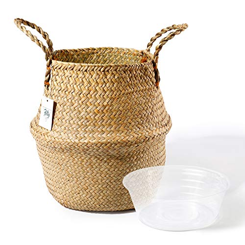 Lowest Prices! POTEY Seagrass Plant Basket - Hand Woven Belly Basket with Handles, Middle Storage La...