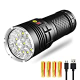 Bright Flashlight with Power Display, 12 High Lumens LEDs, Super Bright, USB Rechargeable Torch with 4 Modes for Camping, Hiking, Power...