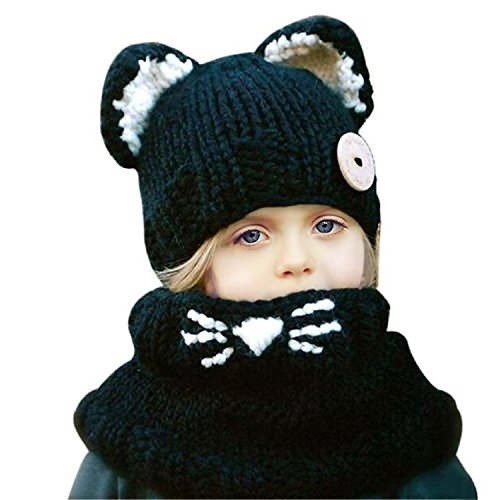 The Cat In The Hat Costume Party City (Jenny Shop Winter Kids Warm Fox Animal Hats Knitted Coif Hood Scarf Beanies for Autumn Winter, Black)