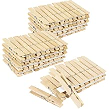 100 Pack - Wooden Clothespins - Large Clothes Pegs for Laundry, Arts, Crafts, Decoration, 4 x .5 x .5 Inches