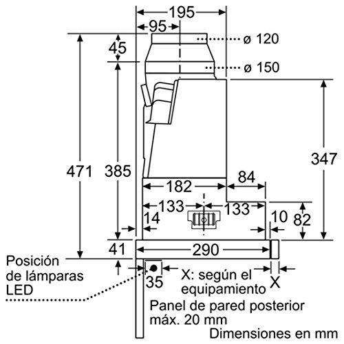 Bosch s/érie 4/dfs067/a50/encastrer 740/m/³//h /à Argent Hotte aspirante