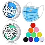 NATARIFITNESS..COM  513ooCcsT3L._SS150_ 2 Pieces Essential Oil Diffuser Lockets for Face Mask Magnetic Clip Aromatherapy Locket Air Freshener Stainless Steel…