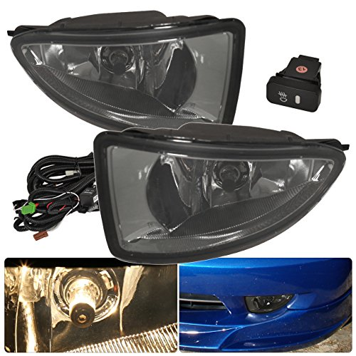 Honda Civic Smoke Lens Fog Light Lamp High Performance Left+Right Set Pair Assembly Switch Harness Kit Replacement