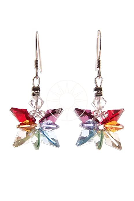Swarovski Crystal Elements Chakra Butterfly Hanging/Drop Earrings with Sterling Silver Wires H4WaiVbHb