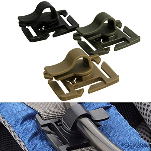 Rotatable Drinking Hose Webbing Tube Clamp Clip Molle Hydration Bladder Trap - Pink Wood Tube Dangling