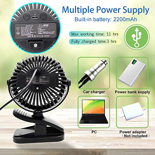 USB Fan, Portable Clip Stroller Fan with Lights, Mini Desk Fan 2200mAh Rechargeable Battery Powered, Cooling Fan with Hanging Hook, 3 Speed 360 Rotation for Baby Pram, Bedside Crib, Office, Camping