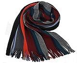 Rotfuchs Scarf - knitted, red black 100% wool (Merino)
