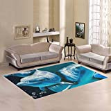 Love Nature Sweet Home Modern Collection Custom Dolphin Under the Blue Ocean Sea Area Rug 5'3''x4' Indoor Soft Carpet