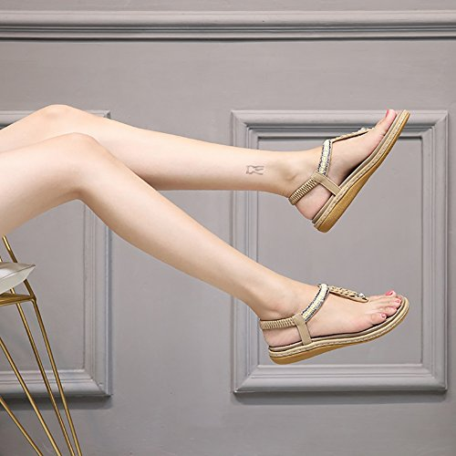 711753fedf9e Meeshine Womens Summer Beach Flat Sandals Rhinestone Shiny Beads Slip On Flip  Flops Thong Shoes