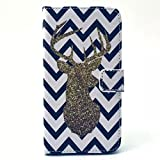 S4 Case, JCmax Premium Flip Wallet Case [Kickstand] for Samsung Galaxy S4 i9500-[ Deer Pattern ]- Blue