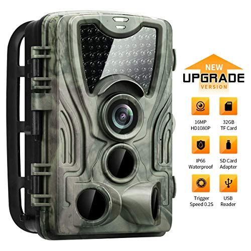 HIRALIY Trail Game Camera 32GB TF Card & SD Card Adapter Included Updated 940nm IR LEDs 16MP 1080P HD IP66 Waterproof Game Camera Motion Activated Night Vision for Wildlife Observation