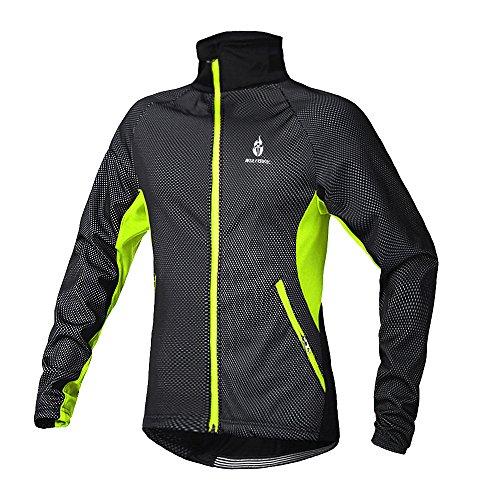 Eleoption Herren / Jungen warme flexibel Fleece Jacke Fahrrad Bekleidung Radjacke Windstopper Jacke für Herbst Winter Laufen MTB Radsport