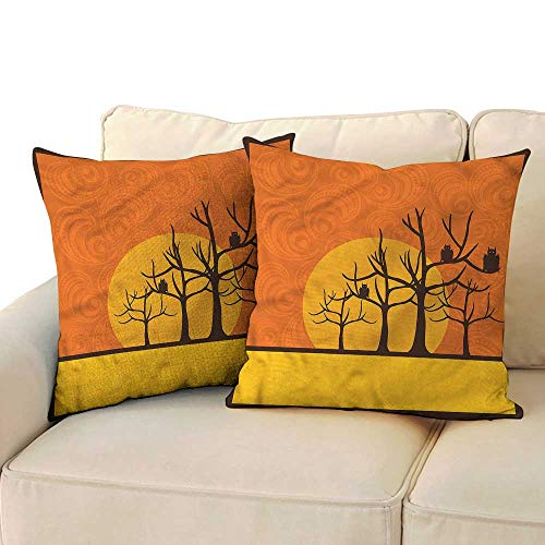 RuppertTextile Halloween Square Pillowcase Spooky Bats on Trees Moon Mildew Proof W15 x L15 -