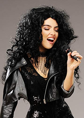 Cher Style 1980s Long Big Black Curly Wig