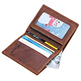Win&Income Genuine Crazy Horse Leather Money Clip Wallet Credit Card Holder,Brown offers